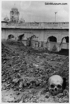 1984 Indian Army attack on the Sikh Golden Temple Complex in Amritsar, Punjab. Operation Blue Star Aftermath - human remains in the rubble of the destroyed Akal Takht. To learn more see the SikhMuseum.com Exhibit - Operation Bluestar