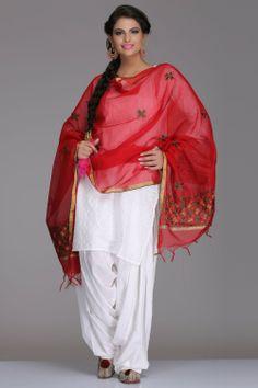 Striking Red Chanderi IndiaInMyBagcom #Dupatta w/ Multicoloured #Phulkari Embroidery