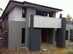 Cam & Kirsten - Building our new home with Metricon: Red Jezebel. Exterior Color Schemes, Exterior House Colors, Colour Schemes, Home Remodeling Diy, Home Renovation, Rendered Houses, Diy Gutters, My Ideal Home, Facade House