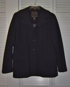 Vintage Abercrombie & Fitch Navy Blue Wool Coat Jacket Size M - Made in Italy #AbercrombieFitch #Preppy #Vintage #Italian #eBay #MadeInItaly #Fashion