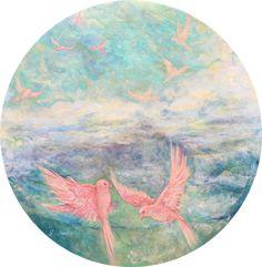 Original Animal Painting by Nino Ponditerra Paintings For Sale, Original Paintings, Original Art, Oil Paintings, Spring Painting, Blue Painting, Circle Painting, Palette Art, Pink Bird