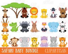 BUY 20 GET 10 OFF Baby Safari Animals clipart commercial use, Jungle animals vector graphics, digital clip art, digital images - Baby Zoo Animals, Arctic Animals, Safari Animals, Woodland Animals, Tribal Animals, African Animals, Painted Rocks Kids, Animal Graphic, Animal Alphabet