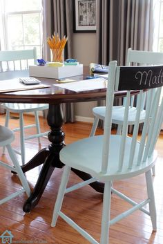 Give an old set of chairs a second life! How to spray paint wooden chairs.