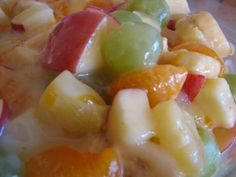 Creamy Fruit Salad - use 1-1/2 T. cornstarch in place of flour to make gf...made this for Easter and everybody loved it!