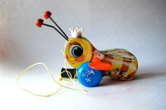 Vintage Fisher Price Buzzy Bee Pull Toy, Nursery Decor, Children's Toy by MilleBebe on Etsy https://www.etsy.com/listing/196781178/vintage-fisher-price-buzzy-bee-pull-toy
