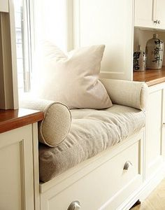 kitchen window seat - I've accepted the fact that I want window seats and/or read in nooks in every room...