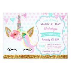 Unicorn Birthday Invitation Sparkle