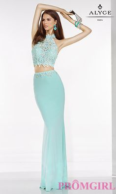 Two Piece High Neck Prom Dress by Alyce at PromGirl.com