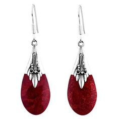 Floral Vine Ornate Teardrop Natural Shell .925 Silver Earrings (Thailand) | Overstock.com Shopping - The Best Deals on Earrings