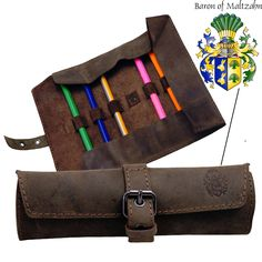 Pencil Case Pen Etui Cosmetic Bag Homer Brown Leather - Baron Of Maltzahn Soft Leather, Leather Bag, Brown Leather, Everything Stays, Pens And Pencils, Writing Instruments, Ballpoint Pen, Ukulele, Cosmetic Bag