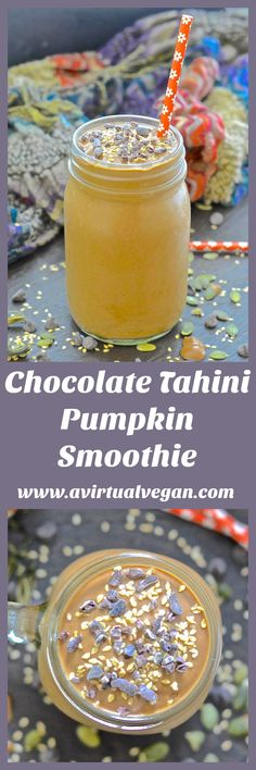 Set yourself up for the day with this velvety smooth, creamy, thick & incredibly delicious Chocolate Tahini Pumpkin Smoothie. It might taste rich enough for dessert but it is healthy, satisfying and full of nutrients! via @avirtualvegan