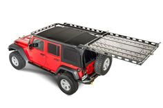 The LoD Easy Access Roof Rack is a Patent Pending system which allows the user to easily unlatch and slide the roof rack backwards to allow the soft top to be placed up or down and is fully operational without the need for tools. White Jeep Wrangler, Jeep Wrangler Camper, Jeep Wrangler Unlimited Rubicon, Jeep Jk, Accessoires De Jeep Wrangler, Jeep Wrangler Accessories, Jeep Accessories, Jeep Wranglers, Jeep Racks