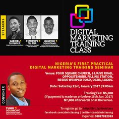Why you MUST attend Digital Marketing Training Class 2.0. - Tunny Ogunnowo    Digital Marketing Training Class is Nigeria's first intensive practical training in Digital Marketing. The first edition of the training was held on August 20th 2016 and participants of the training since then have kick started their digital marketing career. High moments of last years training was when the participants admitted getting much more value from the training than how much they paid. The training is for…