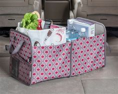 Who says a trunk and cargo organizing tote can't be pretty? The High Road Sahara CarryAll Tote has 2 supported compartments for groceries or car gear with a mesh side pocket and webbed handles. Perfect as a reuseable grocery tote, it folds down for flat storage. See even more Sahara car organizers at www.highroadorganizers.com