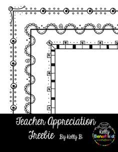 Teacher Appreciation Freebie by Kelly Benefield Teaching Tools, Teacher Resources, Teacher Pay Teachers, Teacher Fonts, Teacher Freebies, Doodle Borders, Borders For Paper, Doodle Patterns, Page Borders Free