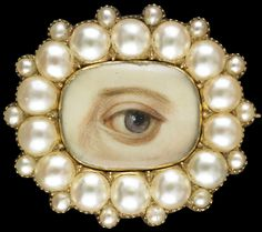 The Look of Love: Exquisite in craftsmanship, unique in detail, and few in number, lover's eye miniatures are small-scale portraits of individual eyes set into various forms of jewelry from late 18th- and early 19th-century England. Old oval brooch and pendant surrounded by fourteen split pearls with fourteen small satellite pearls, ca. 1835–40.