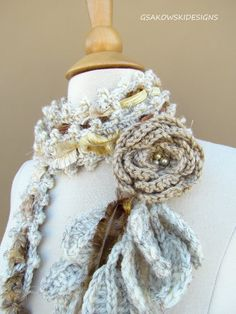 Queen Ann Rose Lariat 2 Oatmeal Vegan by gsakowskidesigns on Etsy