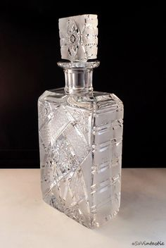a Heavy crystal decanter with cut Pinwheel pattern and alternating clear and frosted crystal. Probably a 30s Czech crystal whisky or whiskey decanter. For the one who recognizes quality and sophisticated style... by SoVintastic, €69.95 ONLY