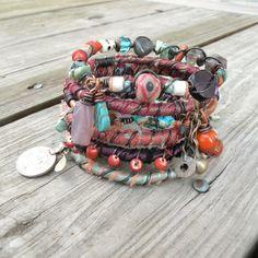Silk Road Gypsy Bangle Stack - Delhi - 6 Bohemian Tribal Bracelets,  Silk Wrapped and Beaded