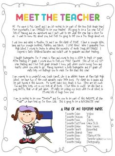"Meet the teacher letter - love the idea of a favorites list. I need to include this in my ""meet the teacher"" letter! Back To School Night, 1st Day Of School, Beginning Of The School Year, School Fun, School Ideas, School Info, School Stuff, School Projects, School Forms"