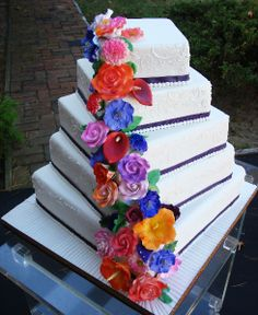 Summer Wedding Cakes | square wedding cake of five tiers with large summer flowers of jeweled ...
