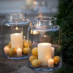 Boris Hurricane | Crate and Barrel. Love this idea of the lemons inside & the little votive too.