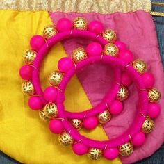 Handmade Neon Pink Bead Bangles To order whatsapp on 9703870603 Silk Thread Bangles Design, Silk Thread Necklace, Silk Bangles, Thread Jewellery, Fabric Jewelry, Bridal Bangles, Jewelry Patterns, Making Ideas, Handmade Jewelry