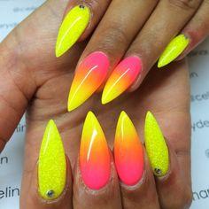 Resultado de imagem para Ombre nails neon stiletto