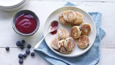 Nadiya Hussain's version of Welsh cakes is spiced with fennel seeds, has tart dried blueberries, and is served with a fresh blueberry coulis. Welsh Cakes Recipe, Coulis Recipe, Berry Crumble, Dried Blueberries, Blueberry Recipes, Recipe Search, Great Recipes, Recipe Ideas, Cooking