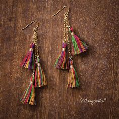 Despite their small size these earrings will get a lot of attention! These earrings are also very lightweight and comfortable to wear on a daily basis! These diamond-shaped earrings are Diy Tassel Earrings, Silk Thread Earrings, Tassel Earing, Thread Jewellery, Tassel Jewelry, Earrings Handmade, Beaded Jewelry, Handmade Jewelry, Bracelet Couple