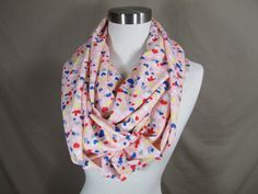 Infinity Scarf in Pink with Multicolor Heart Print Handmade Lightweight Scarf Spring Scarf Summer Scarves