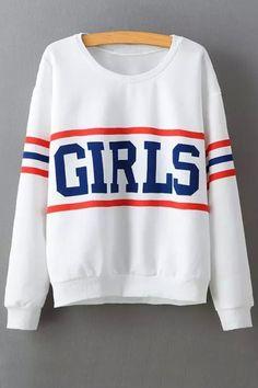 Letter Print Long Sleeve Baseball Sweatshirt