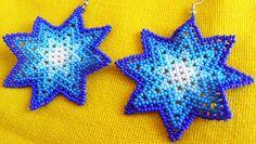 Mexican Huichol Beaded Star earrings by Aramara on Etsy, $7.00