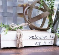 Hand Stamped Book Stack, Personalized Books, Farmhouse Decor, Vintage Book Decor, Welcome To Our Nes Farmhouse Books, Farmhouse Decor, Farmhouse Style, Farmhouse Signs, French Country Rug, French Country Decorating, Wooden Books, Painted Books, Look Vintage