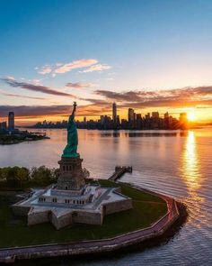 Beautiful view of the Statue and NYC.
