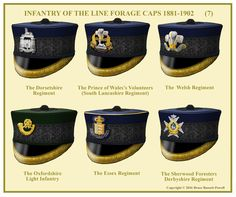 British; Infantry Officer's Forage Caps, 1881-1902