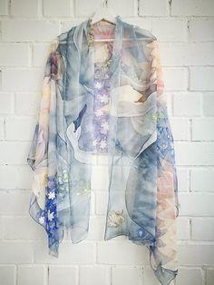 Silk chiffon Shawl Water lilies Delphiniums Swans scarf Cream