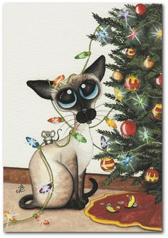 Siamese Cat Mouse Christmas Lights Painting Artwork - Print by AmyLyn Bihrle Christmas Animals, Christmas Cats, Christmas Lights, Christmas Ornaments, Xmas, Siamese Cats, Cats And Kittens, Gatos Cats, Cat Gifts