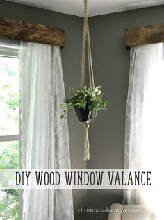 DIY wood window valance tutorial with lace curtains -  an EASY and budget friendly project! Perfect for farmhouse home decor on a budget. #DIYHomeDecorCurtains