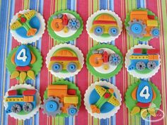 Transportation cupcake toppers