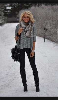 Cute winter outfit! I would wear it with a different scarf though
