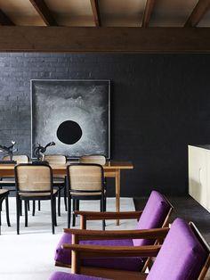 Dark Walls - Tamsin Carvan and Family — The Design Files Dark Painted Walls, Dark Walls, Brick Walls, Sell Used Furniture, Selling Furniture, Furniture Online, Vintage Furniture, Decoration Inspiration, Interior Inspiration