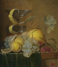 File:Still Life with a Wine Glass, Lemon Peel, Peaches, Grapes and Cherries on the Corner of a Partly Draped Wooden Table.jpg