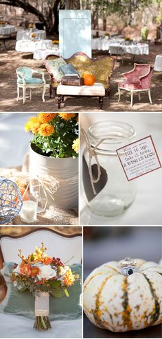 So many great ideas for the wedding.  I especially love the mason jar with the heart as a gift to all that come.  Great ideas.