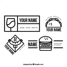 Simples logotipos restaurante lineares Vetor grátis
