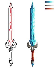 Pixel Art Sword Shading by JollyFigNut