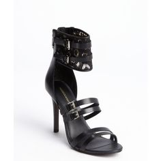 Rebecca Minkoff Black leather lace accent buckle detail 'Miller'... ($83) ❤ liked on Polyvore featuring shoes, sandals, heels, black, leather sole shoes, black ankle strap sandals, ankle wrap sandals, black high heel sandals and heels stilettos
