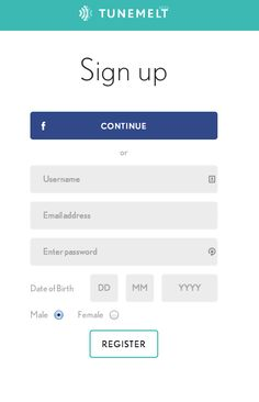 "Tunemel registration. Note the ""Continue"" word instead of ""Login with Facebook"". Works on mobile web as well as desktop"