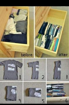 Dorm Room Ideas Tips Tricks and Hacks Small Room Organization College Dorm Decorations Dorm Hacks Ideas Organization Room Small Tips Tricks Organisation Hacks, Dorm Room Organization, Organizing Drawers, Clothing Organization, Storage Hacks, Organize Dresser Drawers, Dresser Drawer Organization, Organizing Tips, Cleaning Tips