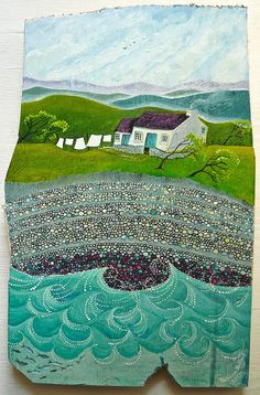Ar lan y môr by Valériane Leblond, a French artist living in Wales. She paints on wood mainly and creates images of the rural landscape, coastal villages and their people at work. Landscape Art, Landscape Paintings, Art Textile, Ares, Naive Art, Ocean Art, Artist Art, Unique Art, Painting Inspiration